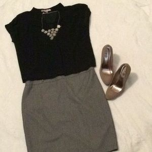 👗 Black and white twilled skirt